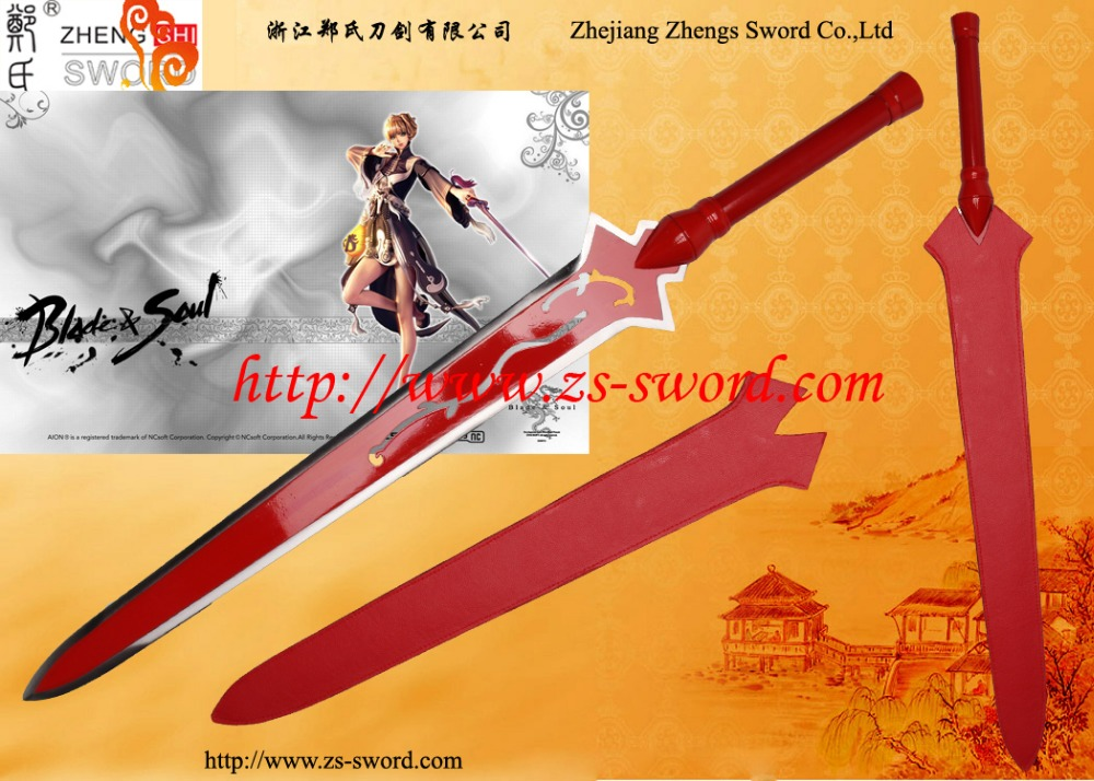 game blade & soul cosplay sword mans steel with red sword
