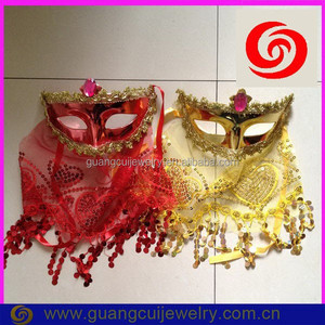 fashion plastic shiny yellow and red pretty party masks cover face for women