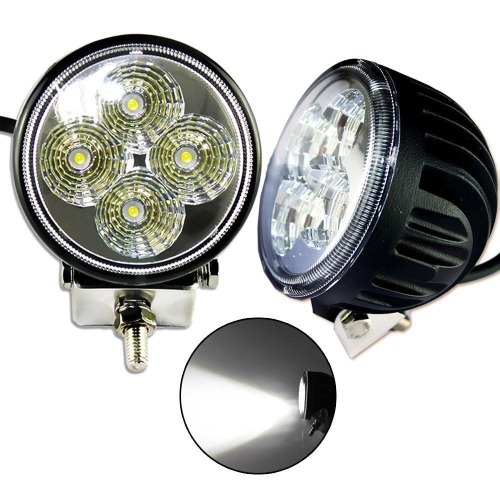 ZITRADES LS-709 2 X 12W DC 9V-32V Round 6000K LED Work Lamp Off Road Spotlight 30 degree Jeep Cabin/Boat/SUV/Truck/Car/ATVs Fishing Deck Driving Light 880Lumen IP67 Waterproof