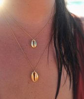 Simple women jewelry gold plated sea shell pendant necklace