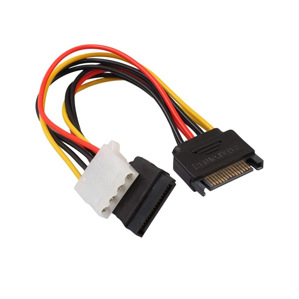 MagiDeal 15-Pin Serial SATA Male to 15-pin Female and 4-pin LP4 Female Reverse Power Adapter Cable For IDE Hard Drive