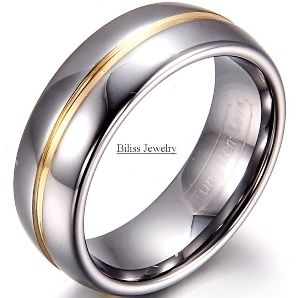 8mm width mens gold inset tungsten carbide ring aniversary engagement tungsten wedding rings. Black Bedroom Furniture Sets. Home Design Ideas