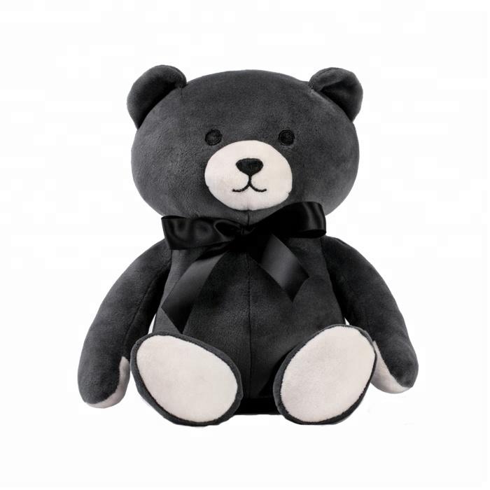 맞춤형 모피 베어 봉제 인형 맞춤 블랙 나비 넥타이 곰