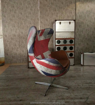 Vintage Swivel Egg Chair With England Flag Upholstery A022