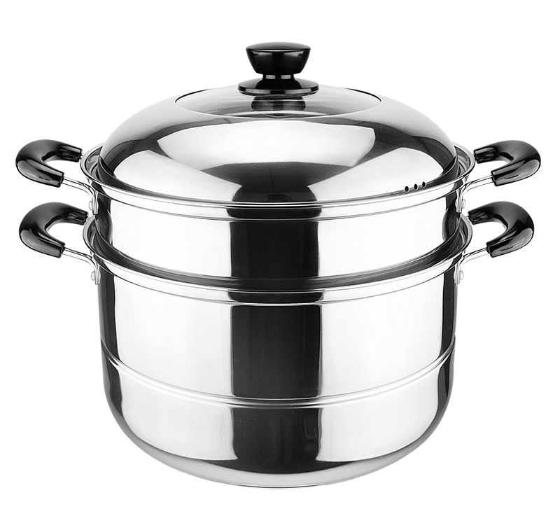 Two Tier Multifunctional Vegetable Stainless Steel Food Steamer Pot With Lid