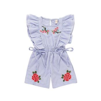 c4ad07ac926 2018 Fashion Cute Toddler Kids Baby Girl Flower Striped Ruffle Romper  Embroidery Flower Summer Blue Lace