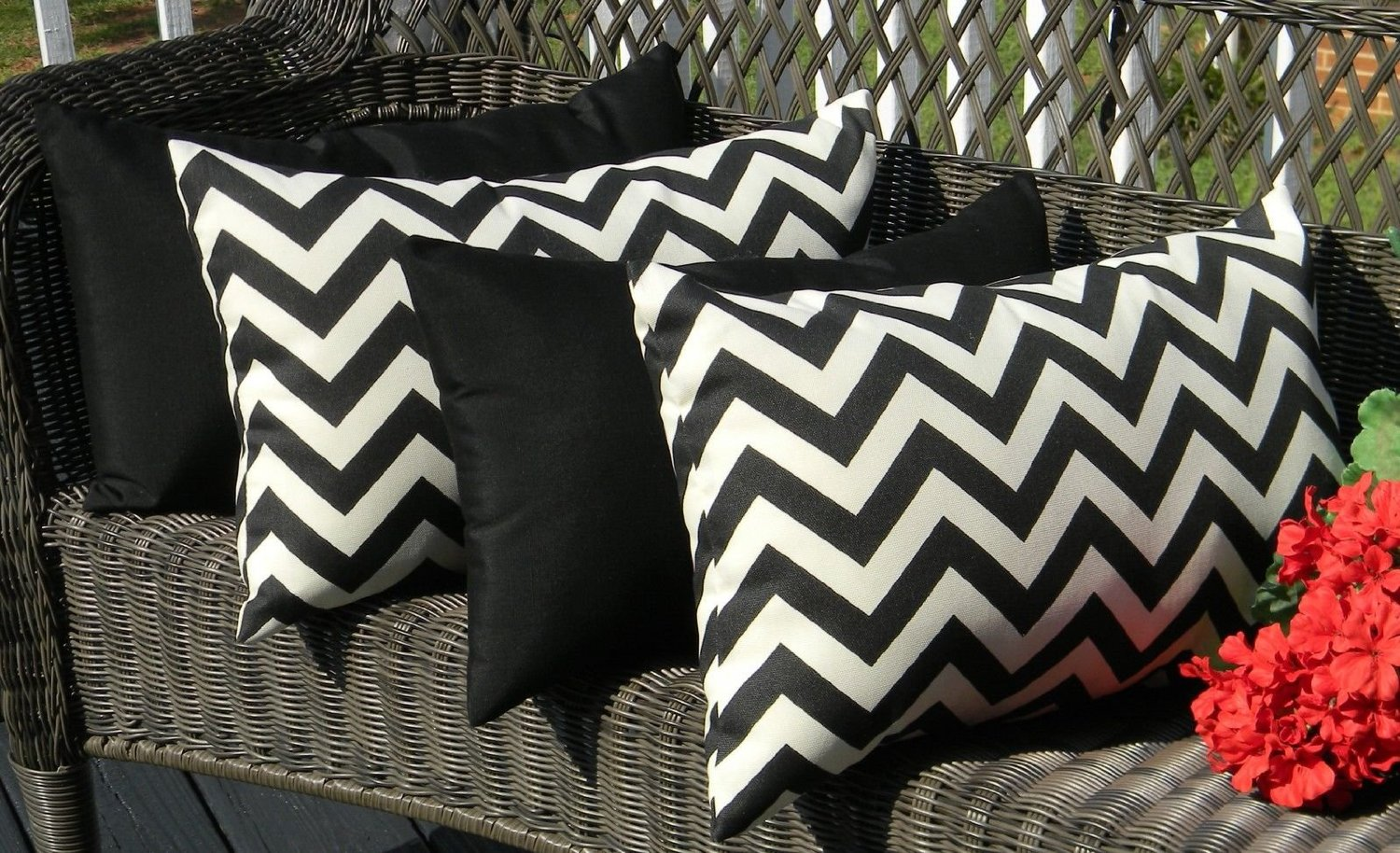 Set of 4 Indoor / Outdoor Decorative Lumbar / Rectangle Pillows - 2 Black and Ivory Chevron & Solid Black