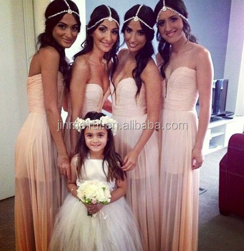 Light Baby Pink Bridesmaid Dresses 2015 Sweetheart Sleeveless A Line See Through Sheer Cheap Long Party Gown BD264