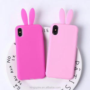 new concept 740c3 9eac0 Fashion Design Cartoon Rabbit Ear Silicone Mobile Phone Case For iPhone x 8  7 plus custom