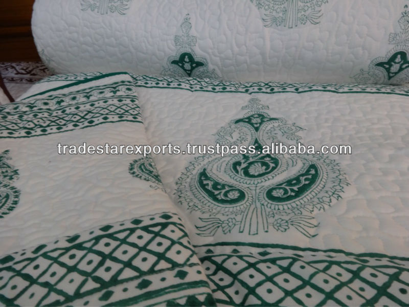 Indian Handmade Cotton Quilt,Hand Block Print With Pattern ... : handmade cotton quilts - Adamdwight.com