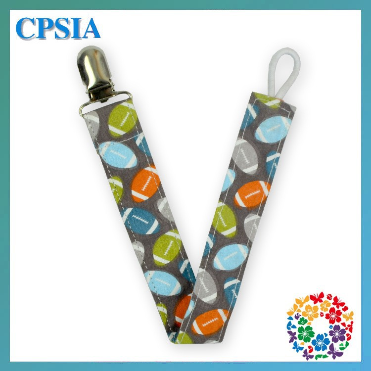 2015 popular American football print soother clip pacifier clip baby