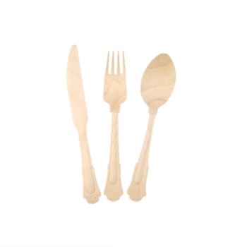 Heavy Weight Extra Long Disposable Eco-friendly Wooden Cutlery Set