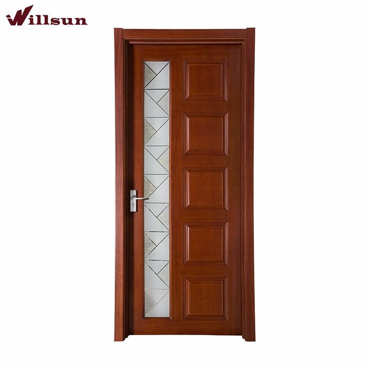Red Walnut Veneer Used Beveled Gl Insert Solid Wood 5 Panel Interior Doors Door