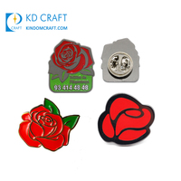 Fashion decorative custom metal colorful soft hard enamel flower badge red rose lapel pin for sale
