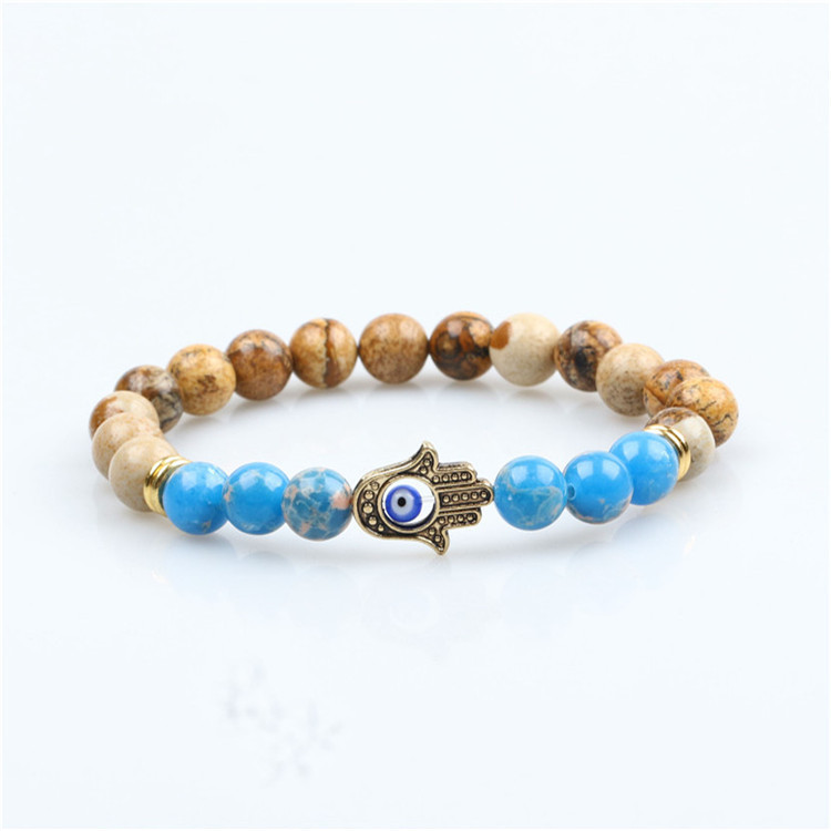 Fashion Antique Good Luck Hamsa Charm Natural Stone Beaded Bracelet For Man