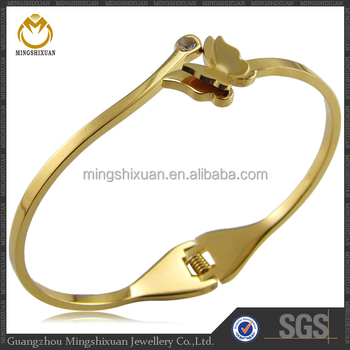Top Sale Stainless Steel Butterfly Bangle 24 Karat Gold Jewelry