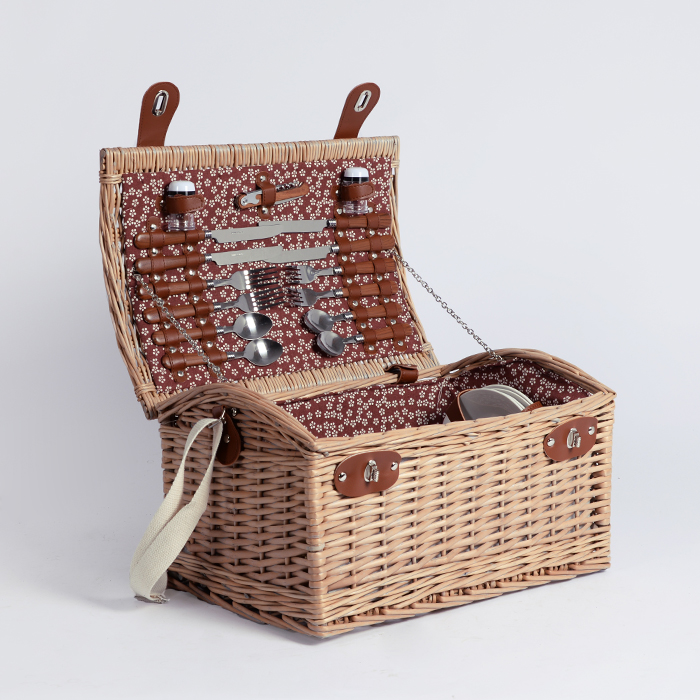 Cheap handicraft custom wood willow wicker picnic basket for 4