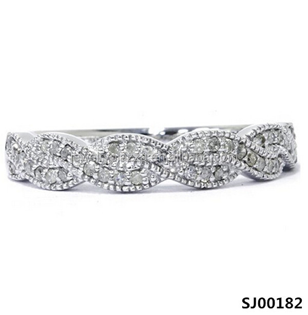 Round Platinum Plated 925 Silver Fashion Latest Ladies Wedding Band Ring Design