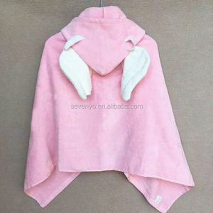 hot sales high quality organic bamboo/cotton hooded baby/kids/baby/girls towel angel pink 90*90cm make in China