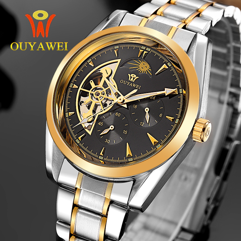 OUYAWEI Moon Phase Tourbillon Men's stainless steel Strap Automatic Mechanical Wrist Watch