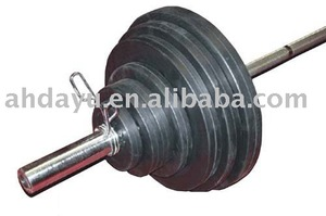 300lb Barbell Set with Rubber Coated Weight Plates