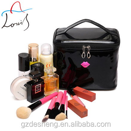 Fashion pu leather zipper travel waterproof makeup bag cosmetic with lip shaped logo