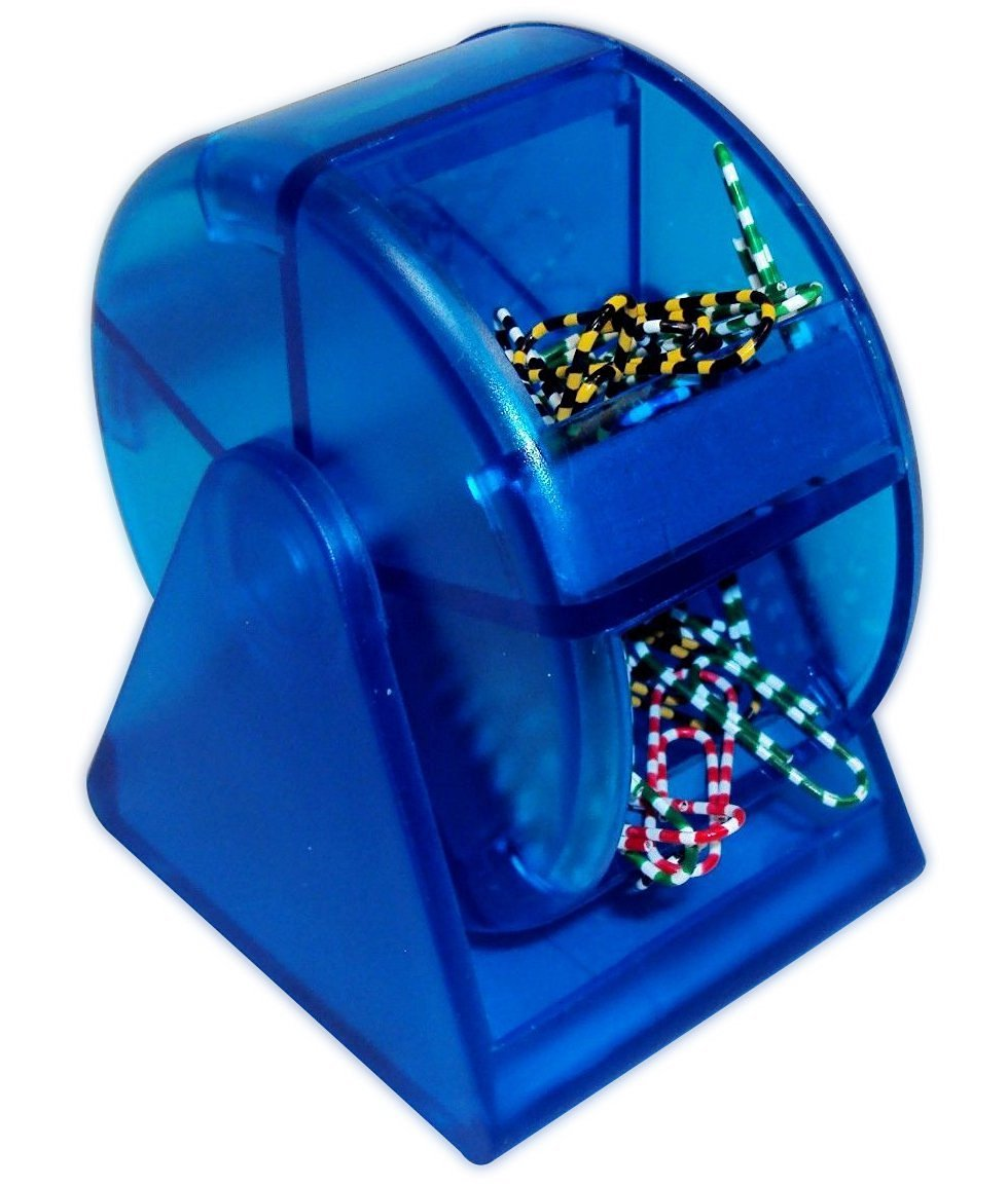 Paper Clip Dispenser - Blue Plastic Ferris Wheel, 5 Compartments with Colorful Clips, Cheap office Supply, Fun Back To School Paper Clip Holder With Zebra Paper Clips.