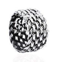 925 Sterling Silver Men's Wide Braided Ring Thai Silver Fashion Vintage Ring Jewelry
