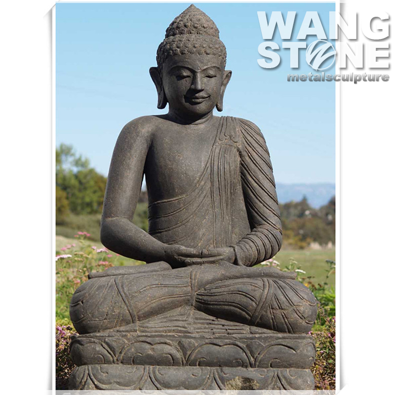 Hand Carved Life Size Sitting Stone Buddha Statue
