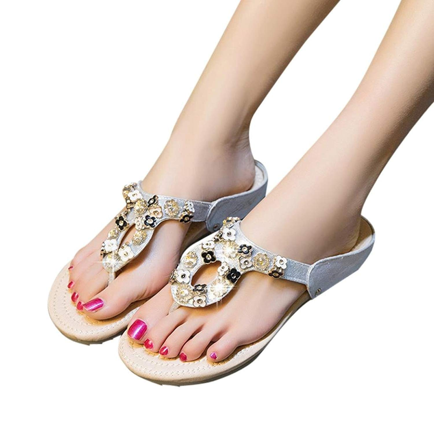 fcfc7686fbf Get Quotations · BSGSH Clearance! Flat Thong Sandals - Casual Flower  Rhinestone Flip Flops for Ladies Women Teens