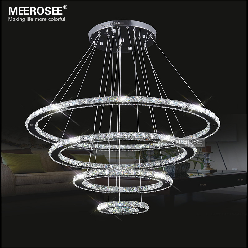 Meerosee led crystal chandelier light diamond ring pendant led light meerosee led crystal chandelier light diamond ring pendant led light 3 circles led lighting md8825 aloadofball Image collections