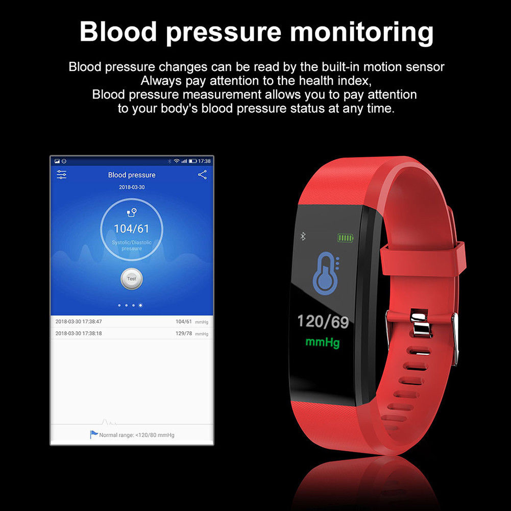 Hottest ID115PLUS Smart Watch Health Fitness Sport Smart Band Bracelet Heart Rate Blood For Android Pressure Monitor Wristband