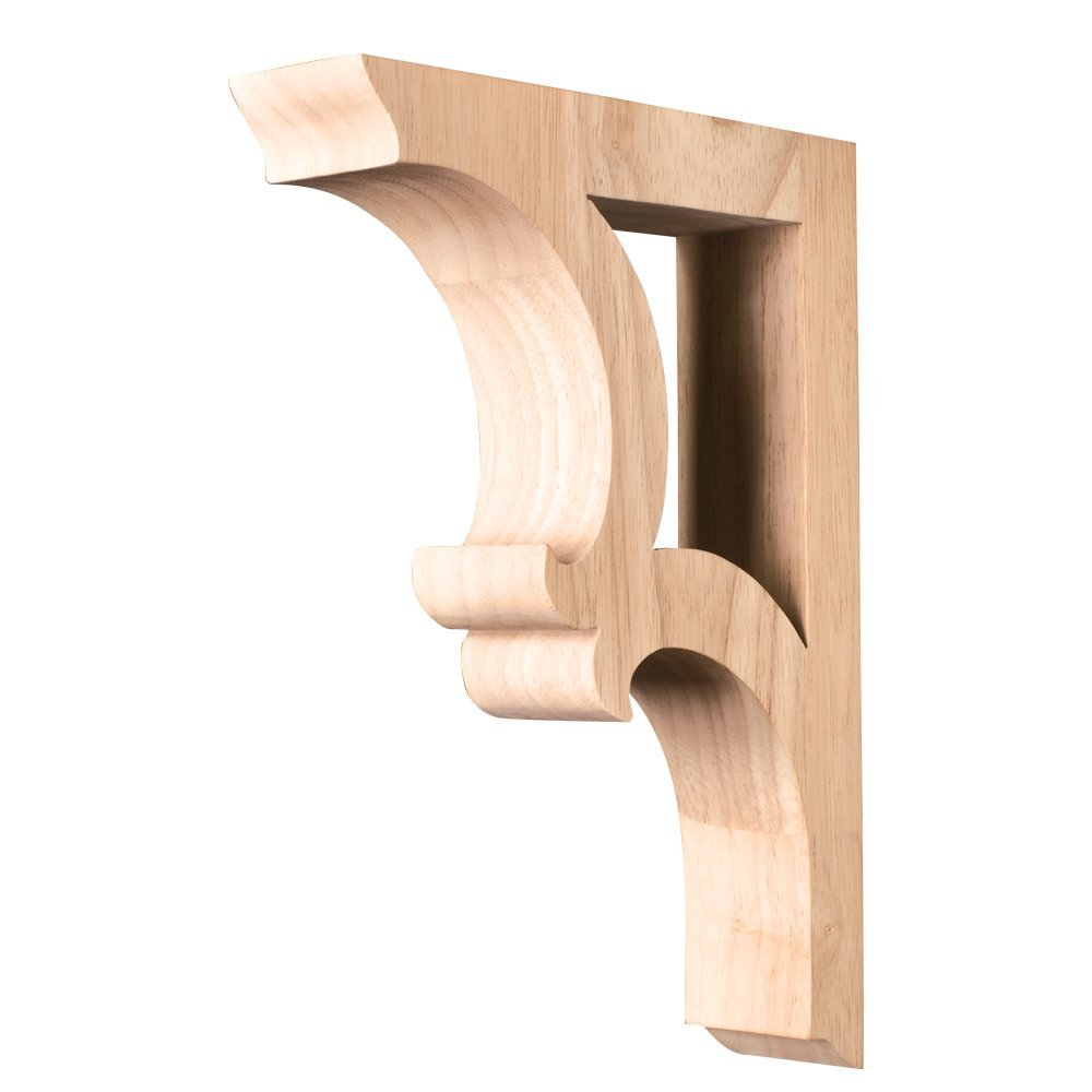 "Box of 3 Corbels- Solid Wood Bar Brackets/Corbels- 1-7/8"" x 7-1/2"" x 10-1/2""."