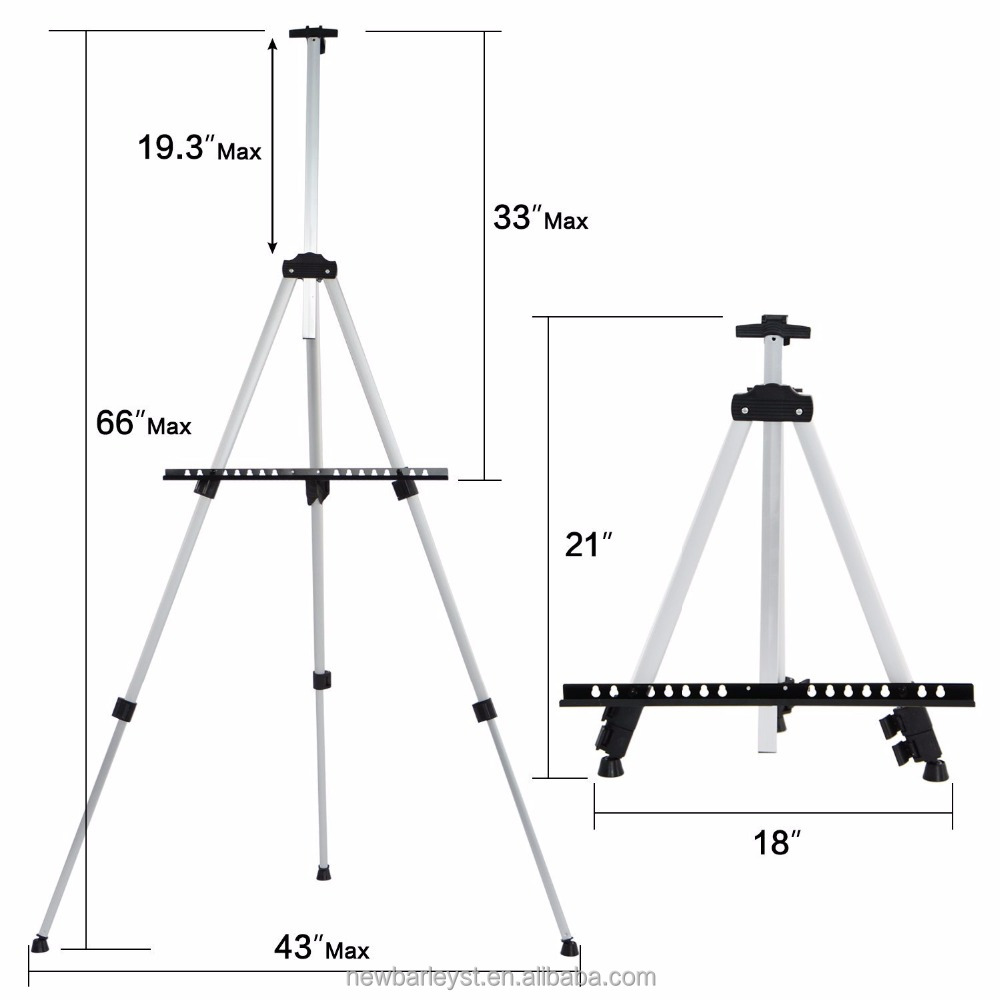 Reinforced Artist Easel Stand, Extra Thick Aluminum Tripod Display Easel