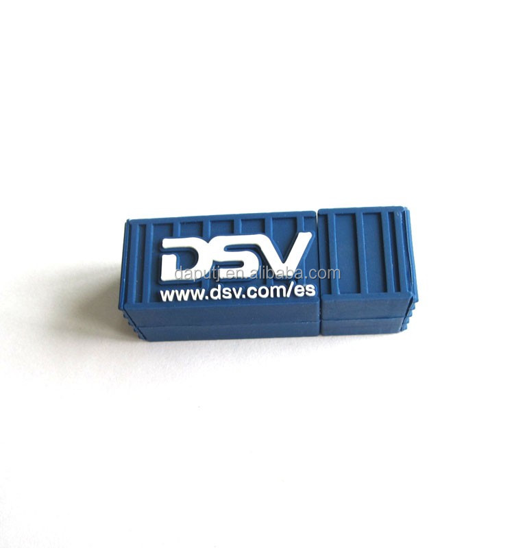 blue container usb pen drive pvc usb flash drive 2.0 usb stick pen drive