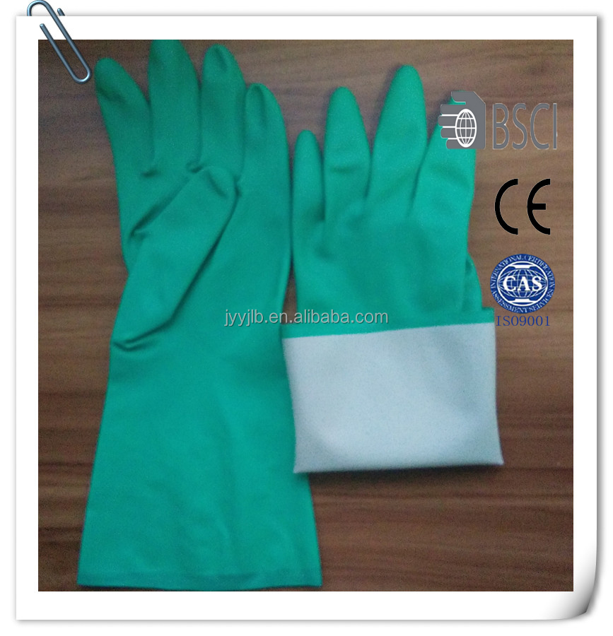 The Cheapest Green Nitrile Flockined Safety Working Gloves
