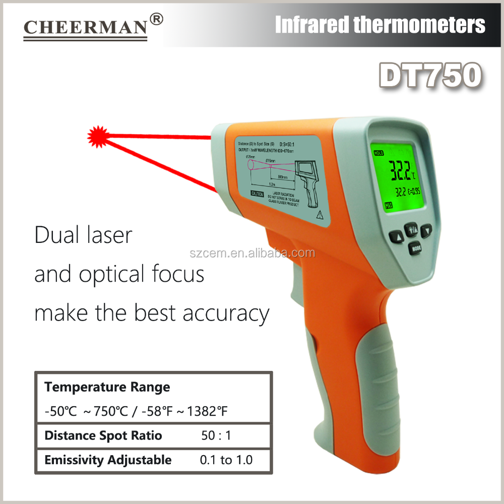 DT750 Digital LCD -50 To 750 Degree Non-Contact Industrial Pyrometer Laser thermometer Infrared Point TemperatureTester Gun