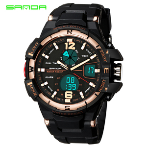 Sanda 289 Brand Military Dual Time Quartz Led Clock Outdoor Diver 30m Waterproof Sports Men Digital Analog Watches Montre Homme