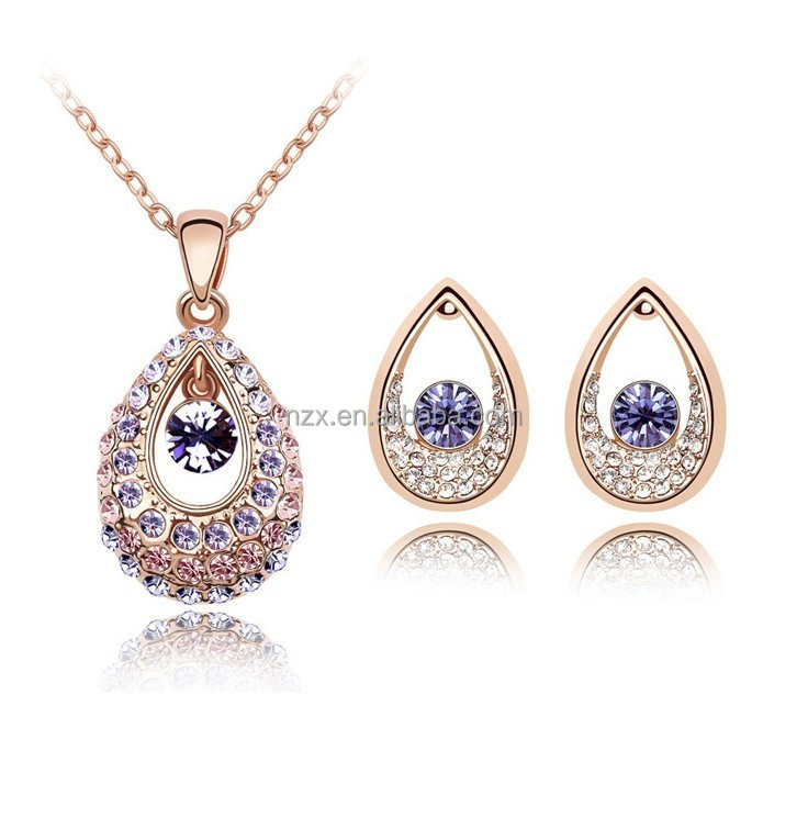 OUXI 2016 luxury designs 18k rose gold with Austrian crystal necklace earring jewelry set for women S-20143
