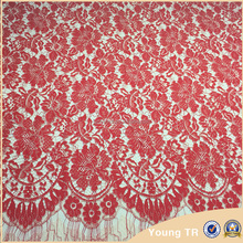 Hot selling new trendy long sleeve lace fabric for wedding dress,red eyelashlace fabric for sale