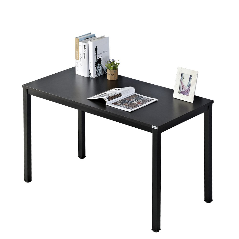 AUXLEY Computer Desk Modern Simple Office Writing Desk 47 Inch for Home Office, Double Deck Wood and Metal Office Table Black Oak