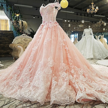 Peach Wedding Dresses Sweetheart With Short Sleeves Beaded Lace