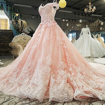 Peach Wedding Dresses Sweetheart With Short Sleeves Beaded Lace Embroidery Ball Gown Pink Bride Dress Formal