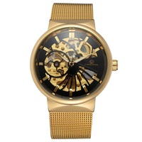 2018 Fashion Men Gold Color Mechanical Watch Skeleton Mesh Automatic Watch