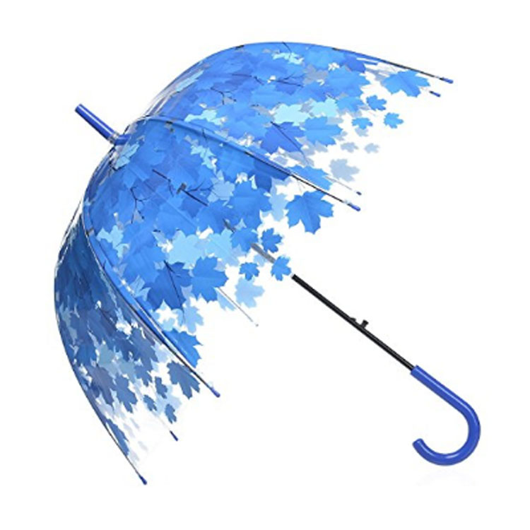 Transparent Color Polyester Rain Umbrella with U Shape Handle