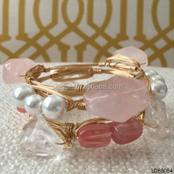 Wire Wrapped Bangles | Pink Rose Quartz Geode Stone And Pearls Gold Wire Wrapped Bangle
