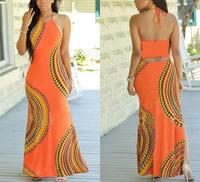 M710 D.Y fashion 2016 halter backless orange african long dress plus size printed long dress