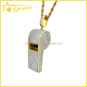 "Iced Lab Diamond Pendant Charm 1.7"" Men's Yellow Gold Finish Sterling Silver Whistle Pendant"