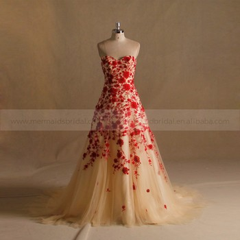A Line Lace Red Gold Wedding Dress Pictures