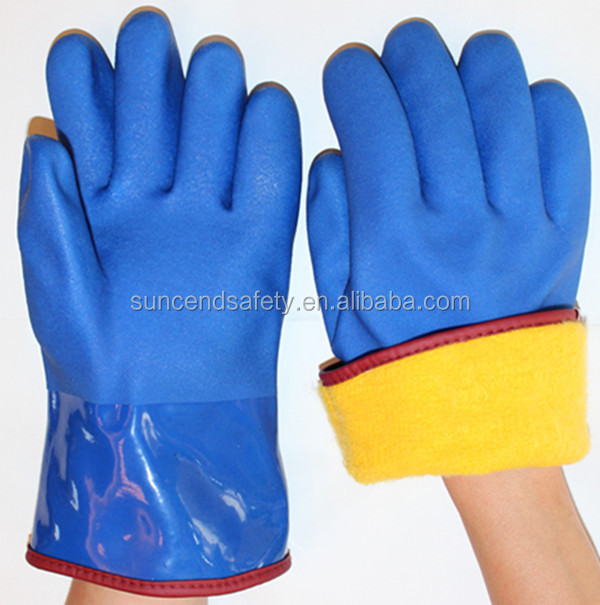 CE approved winter lined PVC hand safety gloves for sale